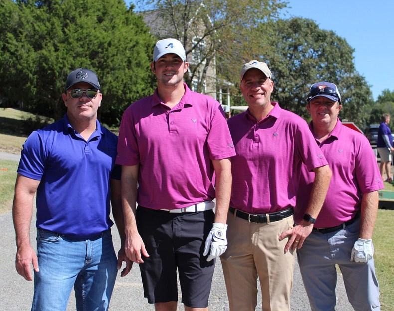 Bryan Ford (from left), Ryan Cochrane, Chris Mower and Tony Arnone gather at Dogwood Hills to support Havenwood. (NWA Democrat-Gazette/Carin Schoppmeyer)