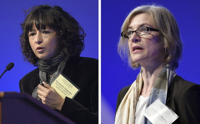 FILE - This combined file image from Tuesday, December 1, 2015 shows Emmanuelle Charpentier, left, and Jennifer Doudna, both speaking at the National Academy of Sciences' International Summit on Safety and Ethics Publishing human genes, Washington.  The 2020 Nobel Prize in Chemistry was awarded to Emmanuelle Charpentier and Jennifer Doudna