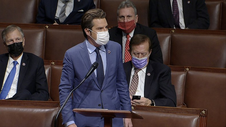 FILE - In this Jan. 6, 2021, file image from video, Rep. Matt Gaetz, R-Fla., speaks as the House reconvenes to debate the objection to confirm the Electoral College vote from Arizona, after protesters stormed into the U.S. Capitol. (House Television via AP)
