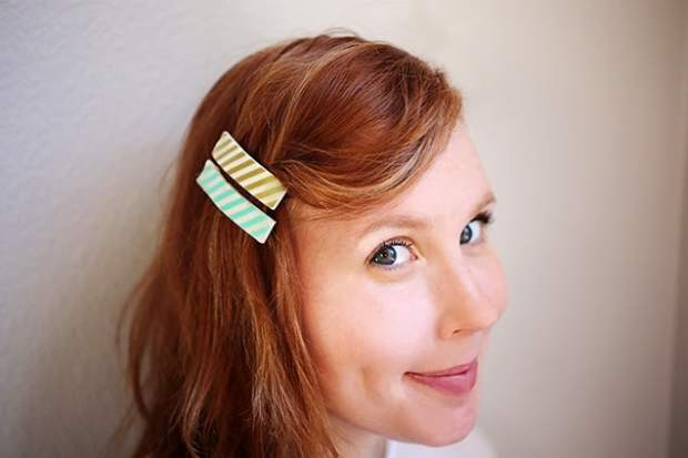 diywashitapebarrettes done2 DIY: Washi Tape Barrettes