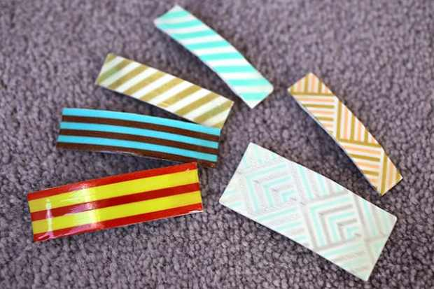 diywashitapebarrettes done4 DIY: Washi Tape Barrettes