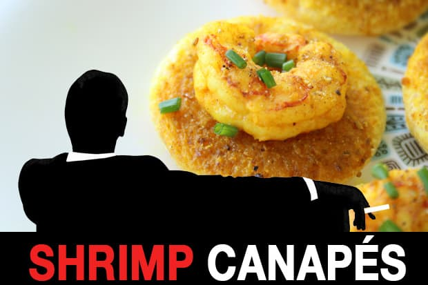 mad men shrimp curry butter canapes recipe 1 Mad Men Recipes: Shrimp Curry Butter Canapes and a Whiskey Sour