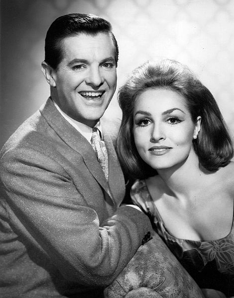 Photo of Bob Cummings and Julie Newmar from the television program My Living Doll.