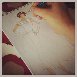 Fashion design: a demure 1950s wedding dress