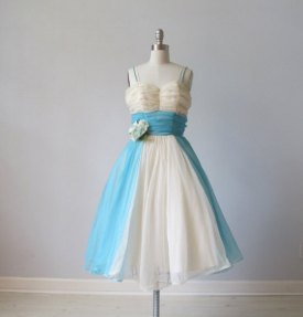 1950s blue & white tulle dress from The Vintage Mistress