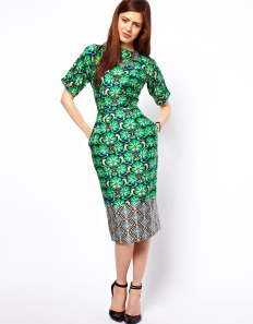 Wiggle Dress In Border Wallpaper Print by ASOS