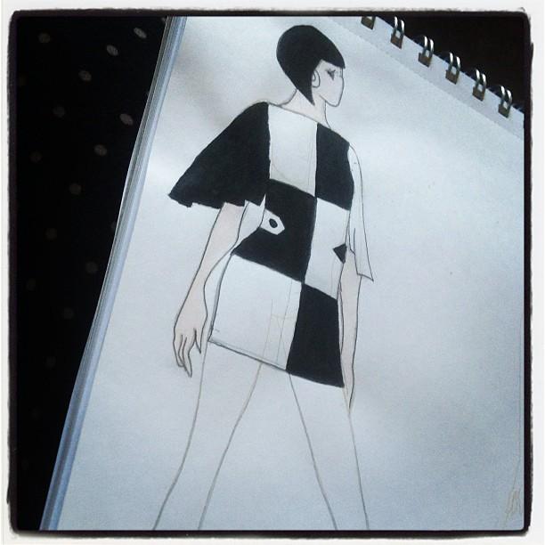 1960s mod dress design sketch