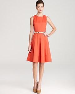 Anne Klein Dress Sleeveless Belted Swing Dress