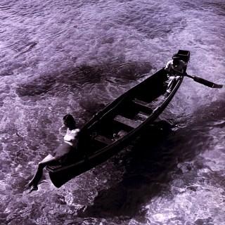 Dovima on a boat 1946