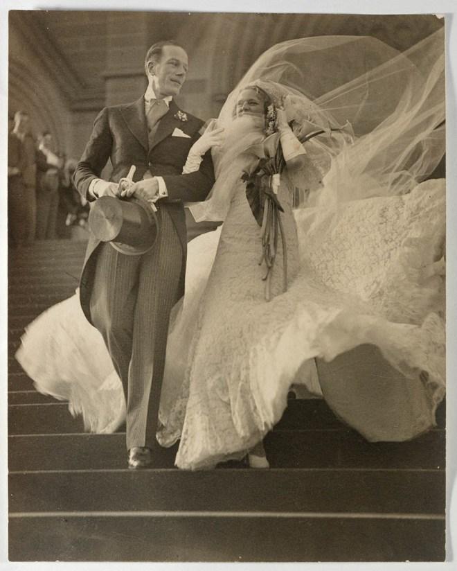 Vintage weddings: 1930s wedding dress on a windy day
