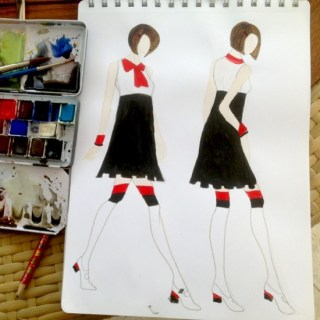 Fashion sketch black and red