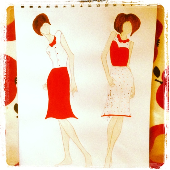 1960s-inspired red and white sketch