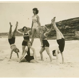 A 1930s Chorus Girl Pyramid on the Beach