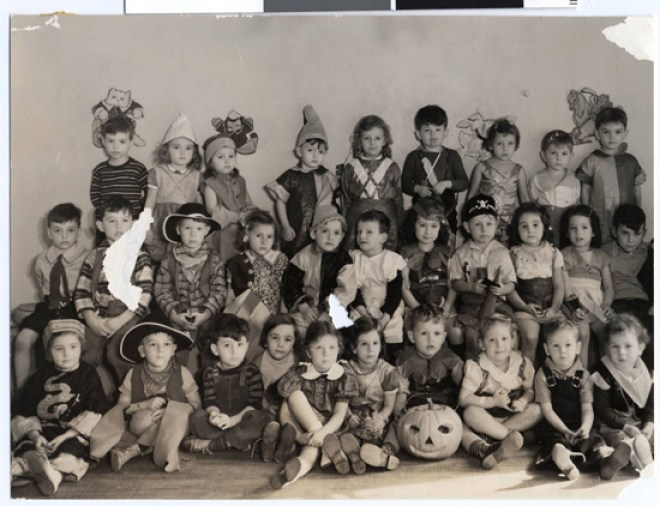 1930s kindergarden class in their Halloween outfits