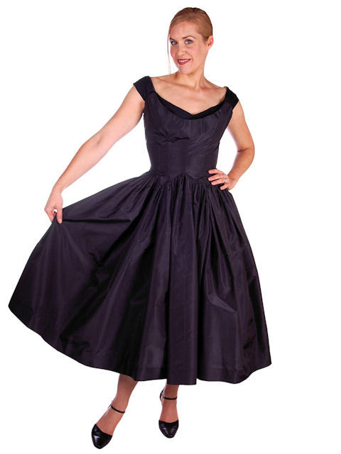 Vintage Dress 1950s Midnight Blue Silk Taffeta By Rudolf Full Skirt