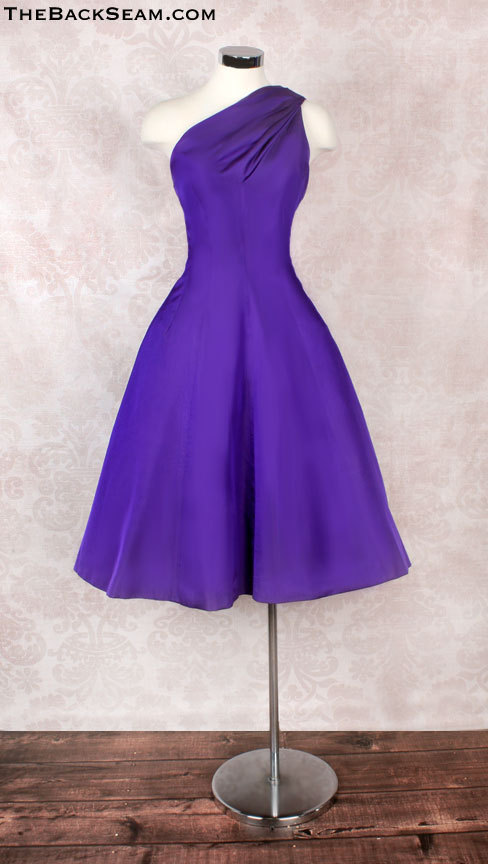 1950s Suzy Perette Purple Silk One Shoulder Evening Dress
