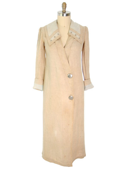 Antique Linen Car Coat Driving Coat Downton Abbey Era 1910-20