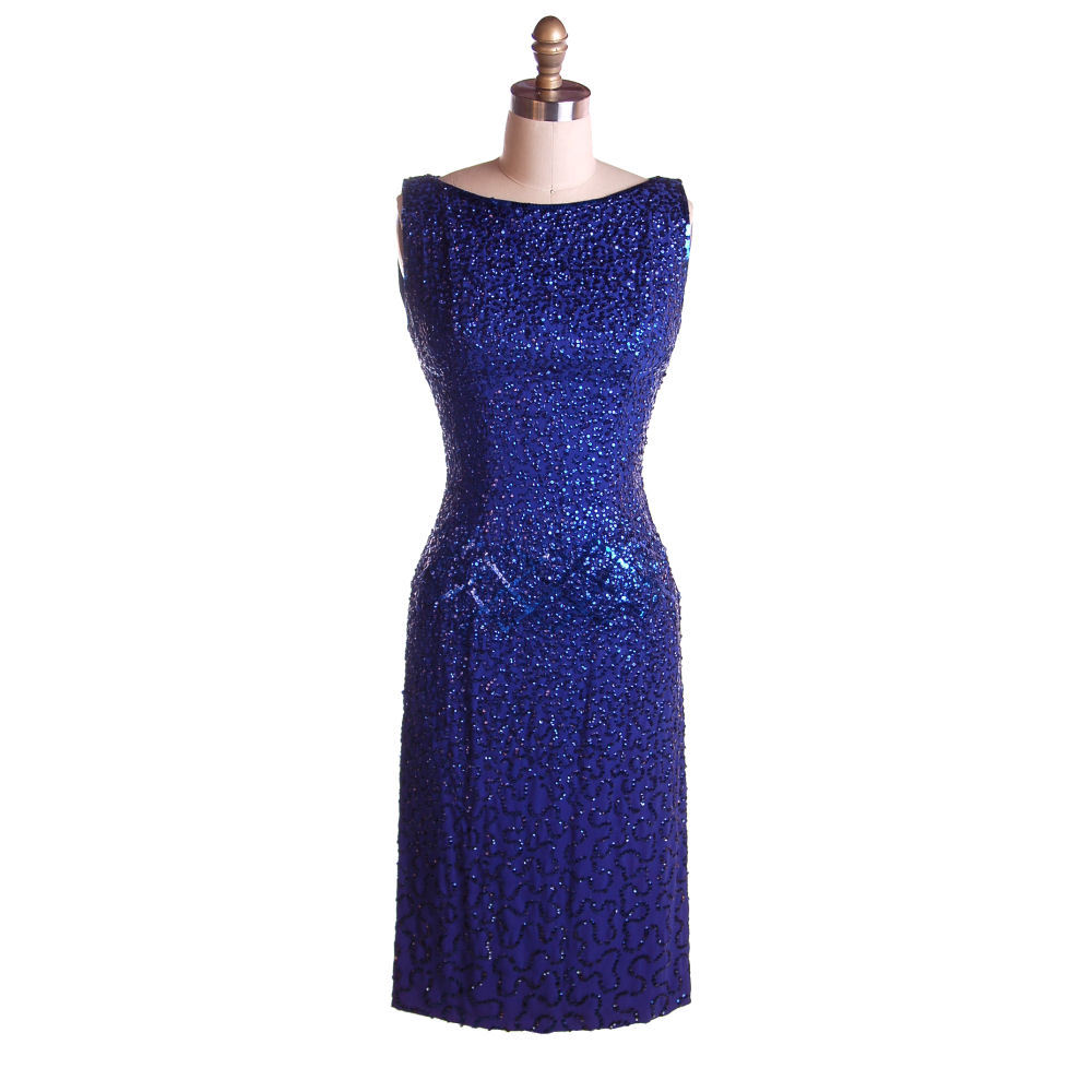 Vintage Cocktail Dress Blue Sequins VavaVoom! Frank Starr 1950s
