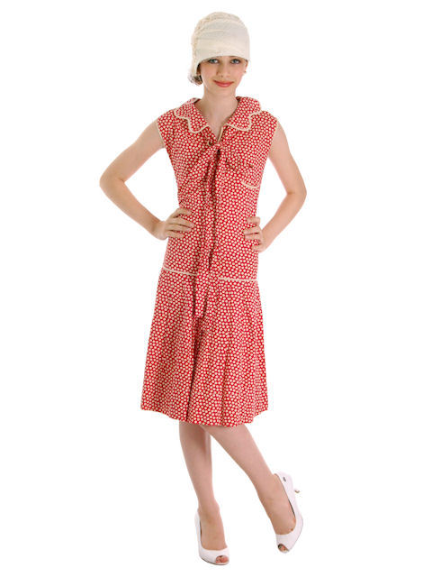 Vintage Red/Cream Polka Dot Cotton 1920s Flapper Dress