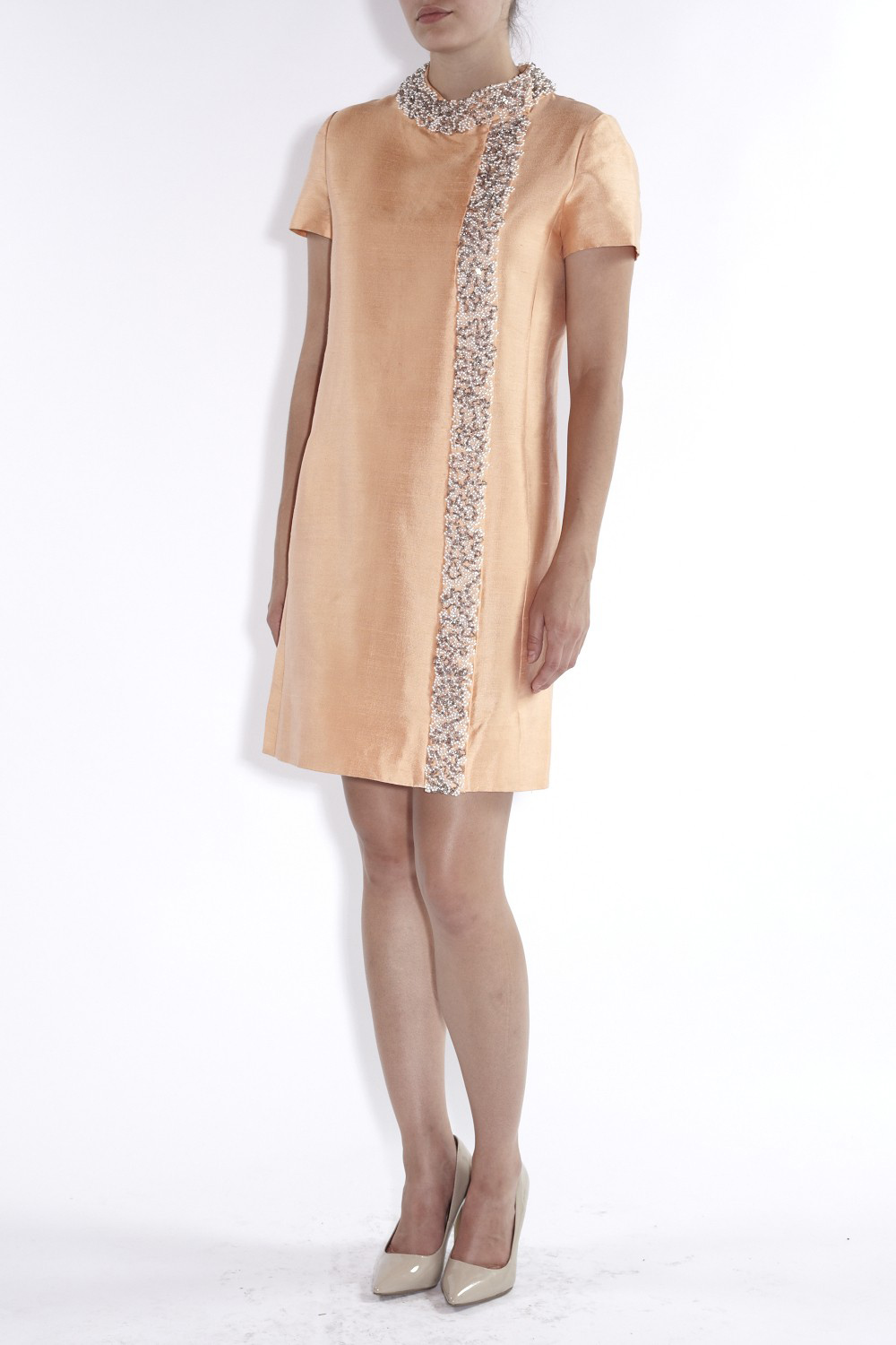 1960's Apricot Silk Beaded Collar Shift Dress