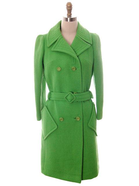 Vintage Ladies Coat Lightweight Lime Green Wool Cool Pockets 1970s Braeton