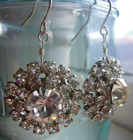 Vintage Art Deco Rhinestone Sterling Silver Earrings
