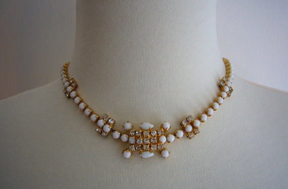 Rhinestone Milk Glass Gold Necklace