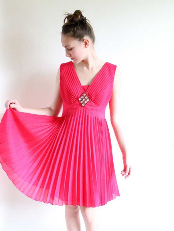 60s cocktail dress - fuschia micro pleated overlay vintage dress