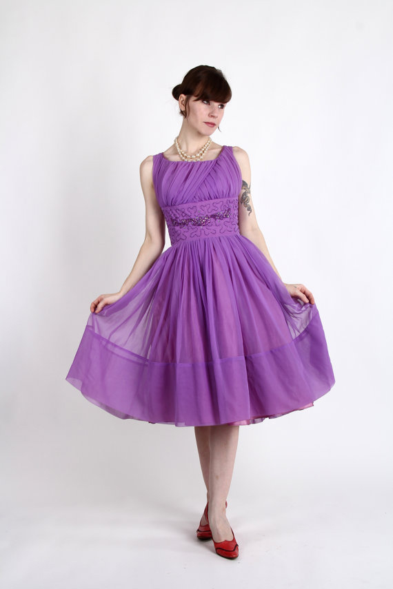 1950s Party Dress . Purple Formal Gown with Beading