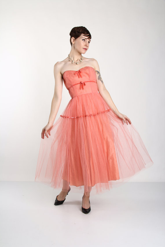 Vintage Tulle Gown . Strapless Formal Wear