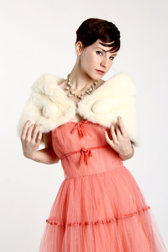 Vintage Rabbit Fur Shrug . 1950s