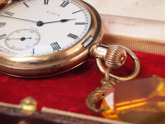 Antique Elgin R Gold Pocket Watch with Citrine Fob
