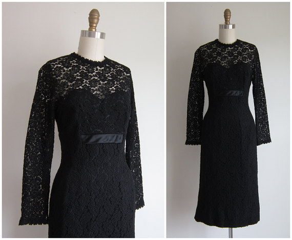 1950s Party Dress / Vintage 1950s Black Wiggle Dress / Black Lace Cocktail Dress by Roban
