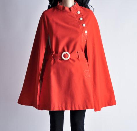 60s red orange MOD cape coat