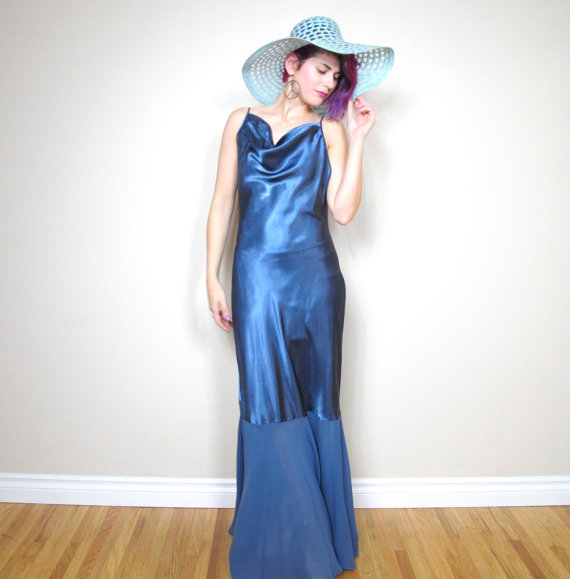 90s Mermaid Blue Chiffon and Silk Satin Backless Slip Dress