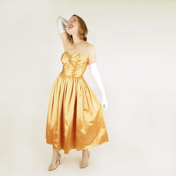 Gorgeous 50s Golden Girl Satin Strapless Gown S