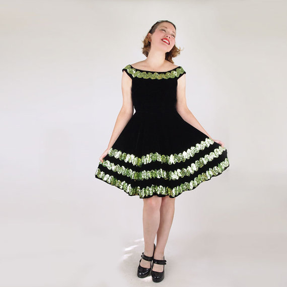 60s Black Velvet Full Skirt Dress with Light Green Sequin Stripes