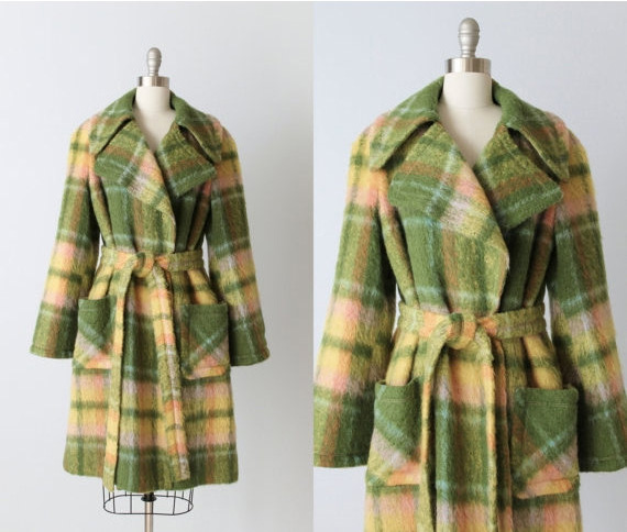 1960s Mohair Plaid Trench Coat