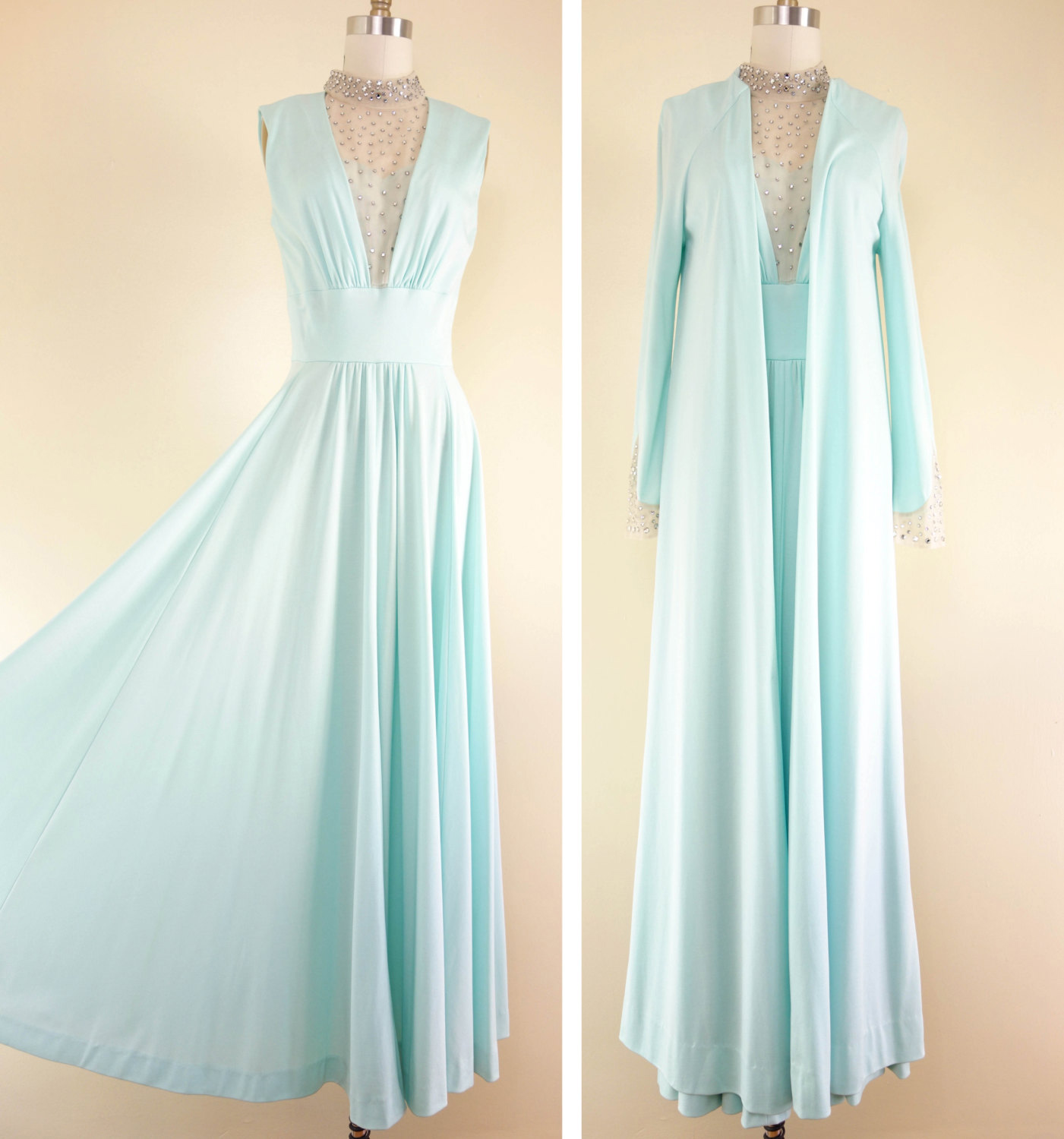 Vintage 1960s Mint Green Rhinestone Gown Lillie Rubin Maxi Dress
