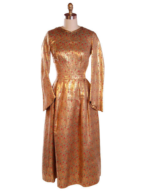 Vintage Liquid Gold Metallic Damask Evening Gown Custom 1940S