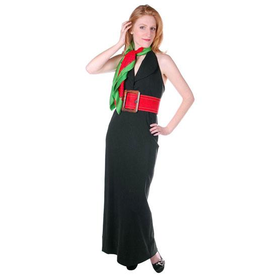 Vintage 1970s Dress Geoffrey Beene Black Silk Halter Gown/Scarf
