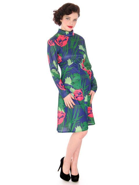 Vintage Dress A Line Dress Emilio Borghese Polyester Blues 1970s