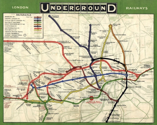 Old London Underground tube map