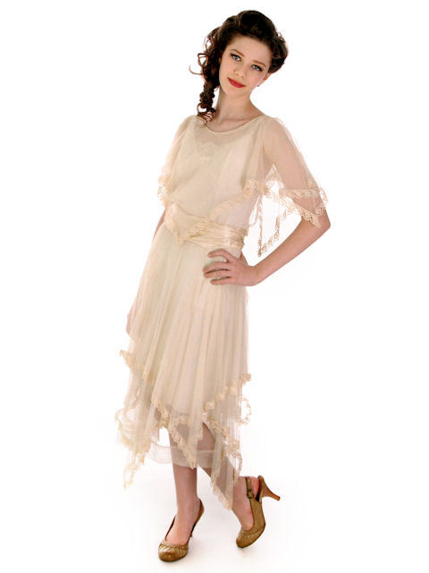 Vintage Ivory Tulle Dress Young Womans 1920 Handkerchief Hem