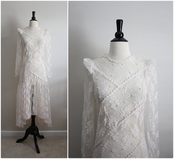 Vintage 70s Ivory Lace Sheer Beaded Maxi Dress