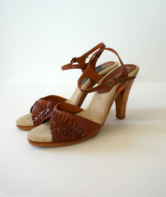 Woven Leather Wooden High Heels