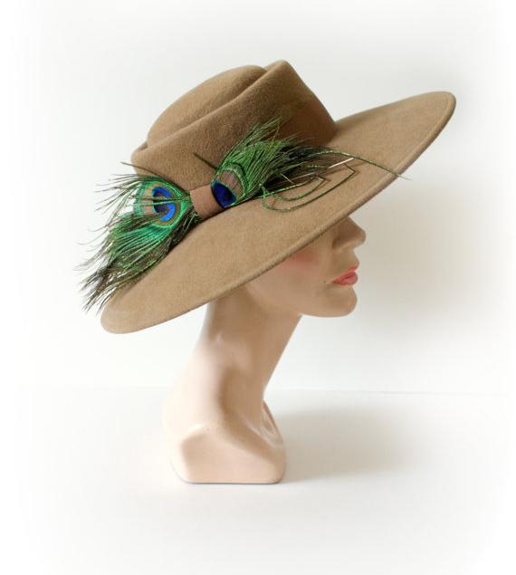 70s Wide Brim Stetson Wool Peacock Hat