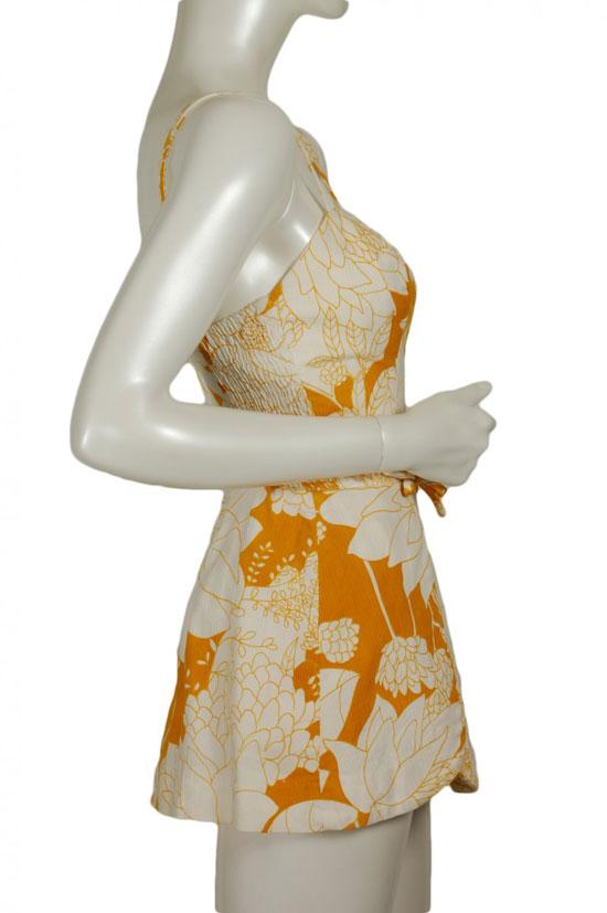 1950s gaugin polynesian print sun suit