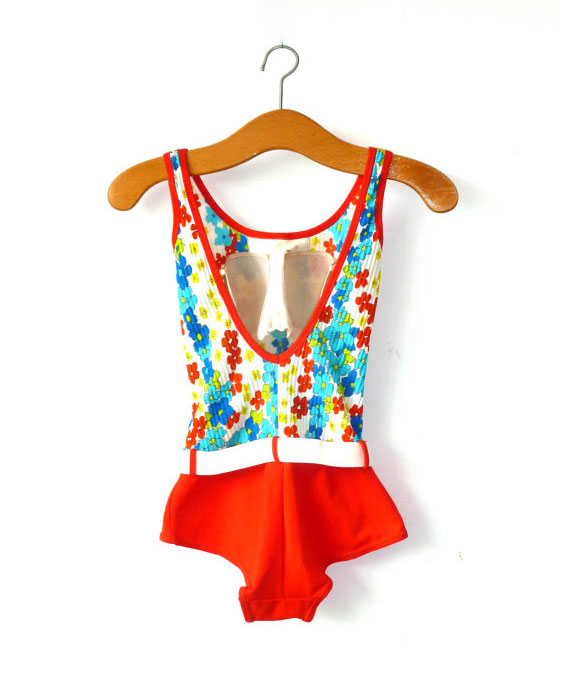 1960s floral print swimming costume
