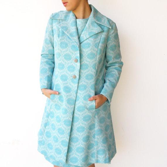 Vintage 1960s Royal Aquamarine Dress and Coat Set